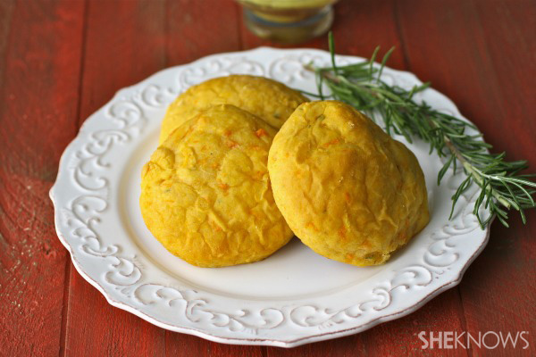 Rosemary-sweet potato rolls with curried butter