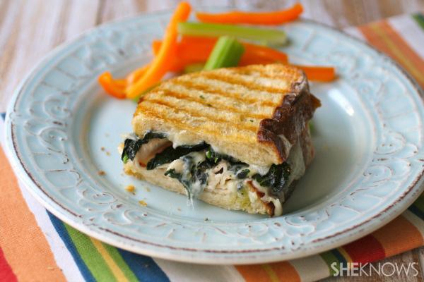 Turkey, Swiss, and seasoned kale panini