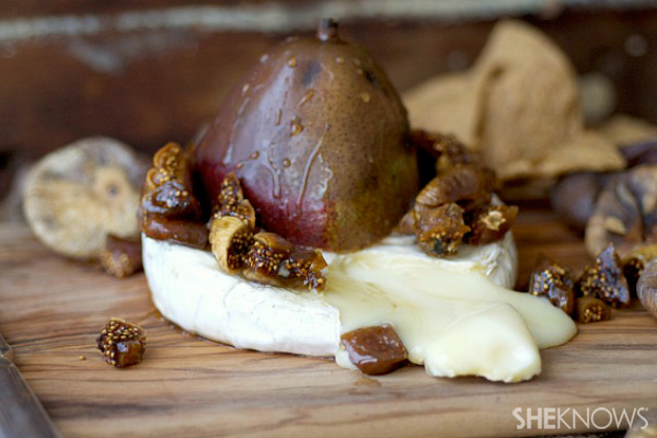 Gooey fig and pear baked brie