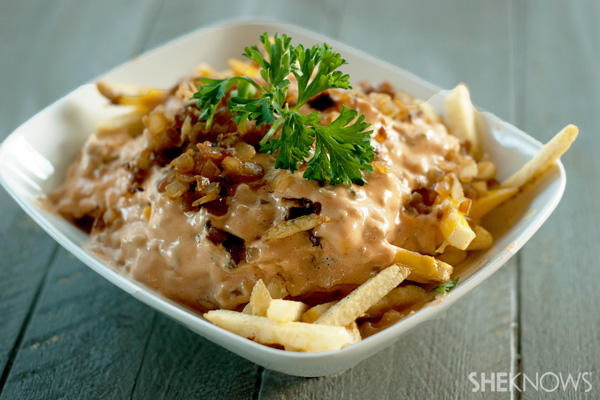 Smothered cheese fries with caramelized onions