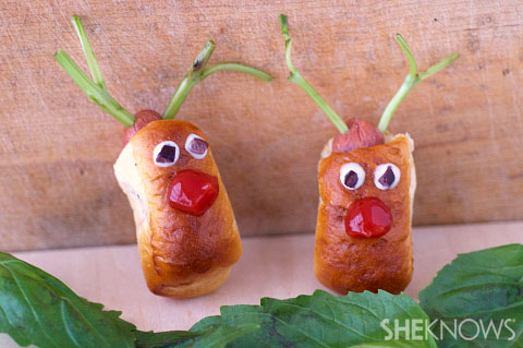 Rudolph the red nosed pretzel dog