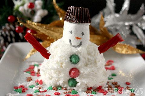 Snowman ice cream sundae