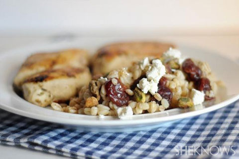 Wheatberry salad with cherries, gorgonzola and pistachios