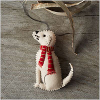 stitched dog ornament