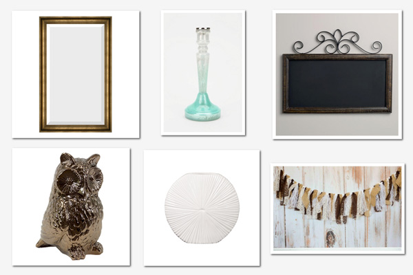 Playful mantel collage