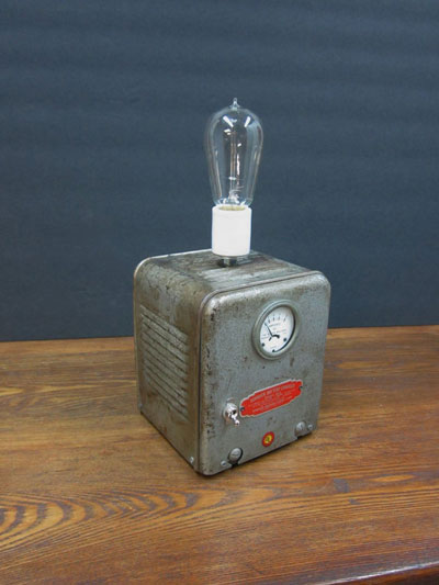 Vintage battery charger lamp