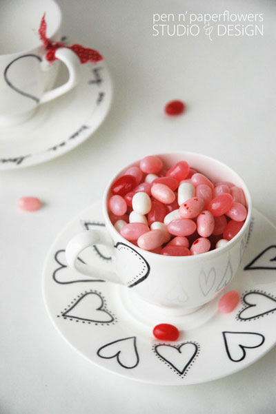 Valentine tea cup and saucers