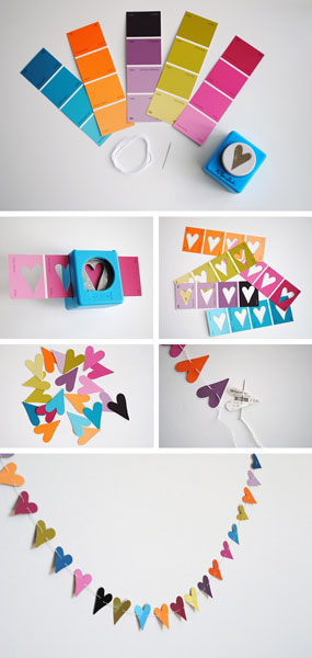 Paint-chip heart garland