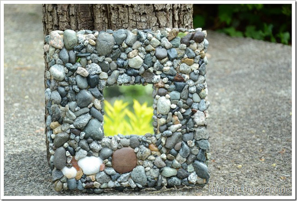Beach rock mosaic mirror
