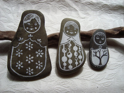 Painted stone dolls