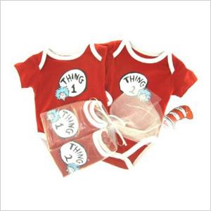Thing 1 and Thing 2 Newborn Onesie Gift Set