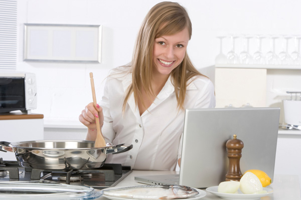 Foodie woman cooking