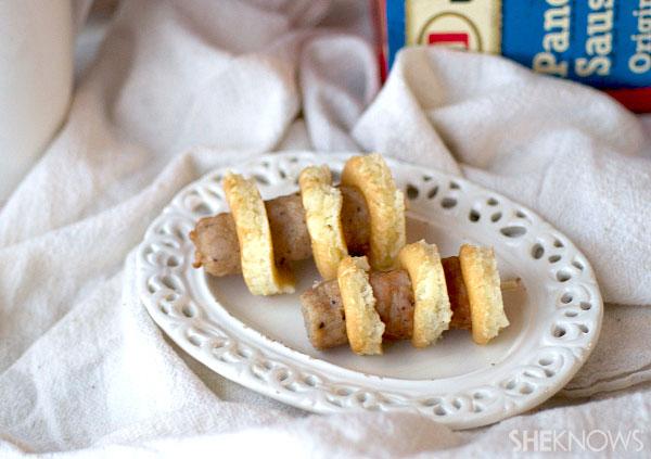 Mini pancake and sausage skewers