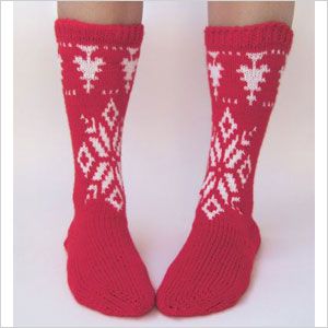 Red snowflake socks