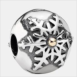 Silver round snowflake charm