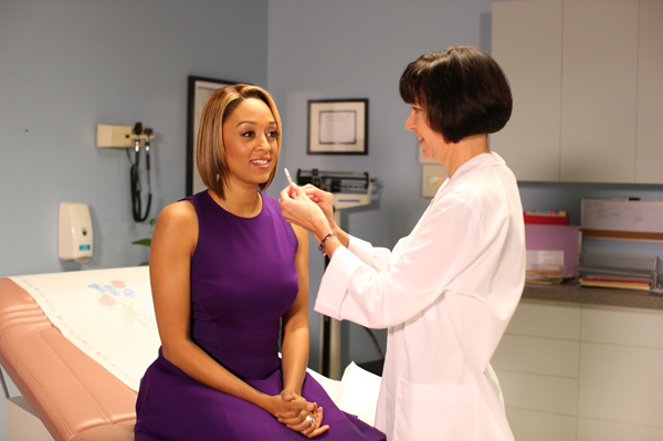 Tia Mowry getting flu vaccine