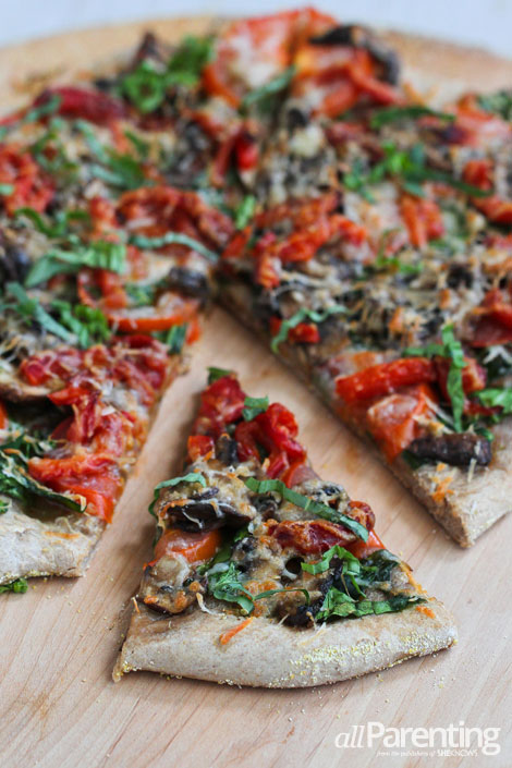 allParenting Vegetarian pizza with mushrooms and roasted peppers