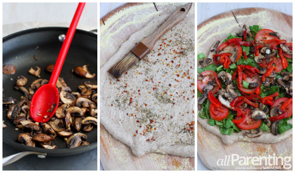 allParenting Vegetarian pizza with mushrooms and roasted peppers prep collage