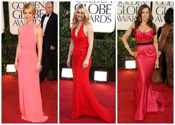 Golden Globes collage- Claire Danes and Sofia Vergara