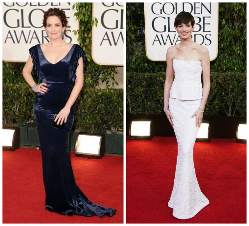 Golden Globes collage- Tina Fey and Anne Hathaway