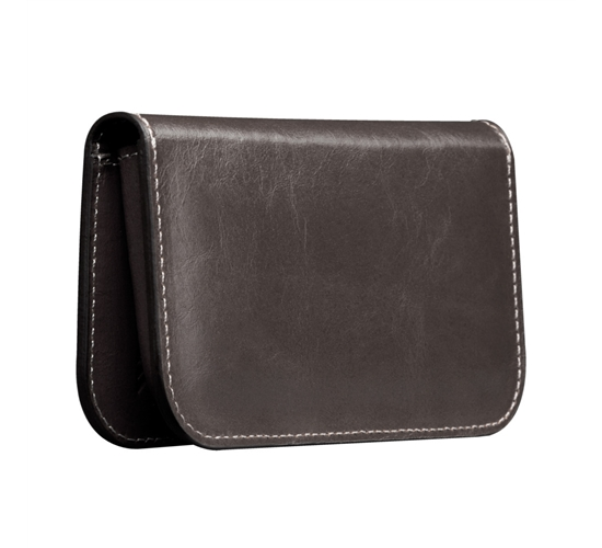 leather wallet that holds his cell phone