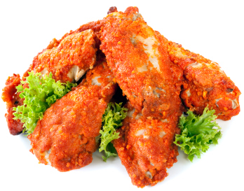 isolated hot wings
