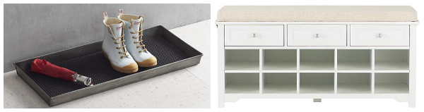 Mudroom organization- boot tray and shoe bench