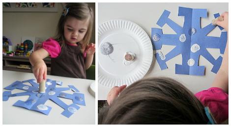 Cork-stamped snowflakes
