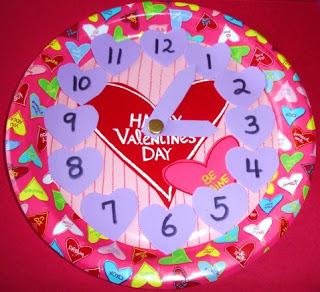 Valentine's Day paper plate clock