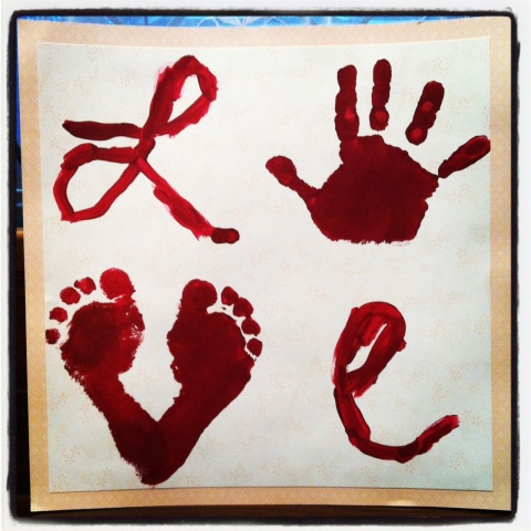Love hand and foot print art