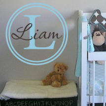 Etsy vinyl art- Nursery Vinyl Wall Decal - Custom Circle Monogram