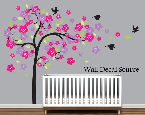 Etsy vinyl art- Swirly Tree With Flowers Wall Decal