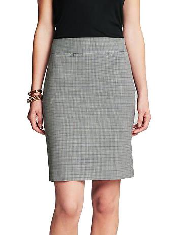 Mini-check Lightweight Wool Pencil Skirt