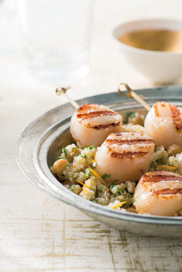 Grilled scallops with orange-scented quinoa