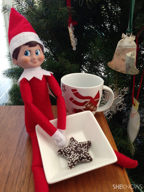 Elf on the Shelf with cookie