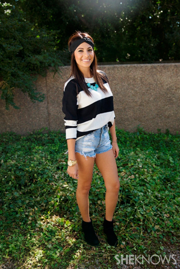 Sweet and girly look with black and white top