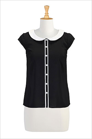 eshakti Peter Pan Collar Crepe Top (eshakti.com, $50)