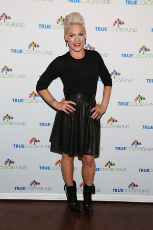 Pink attending the Cyndi Lauper and Friends: Home for the Holidays concert in NYC