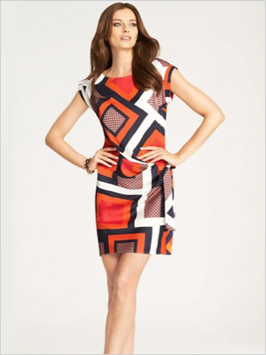 geometric print dress for the long and lean