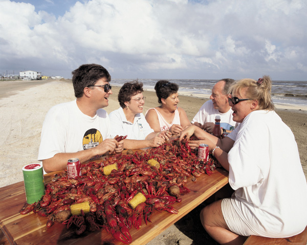 People preparing crawfish