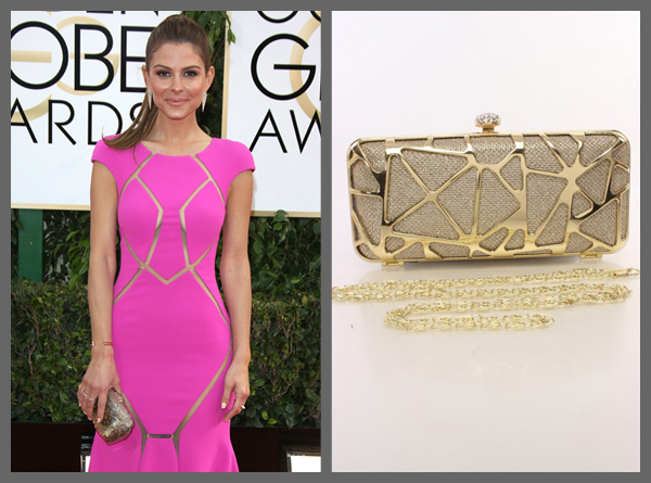 Maria Menounos and a metallic gold clutch