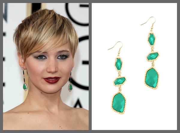 Jennifer Lawrence wearing green drop earrings