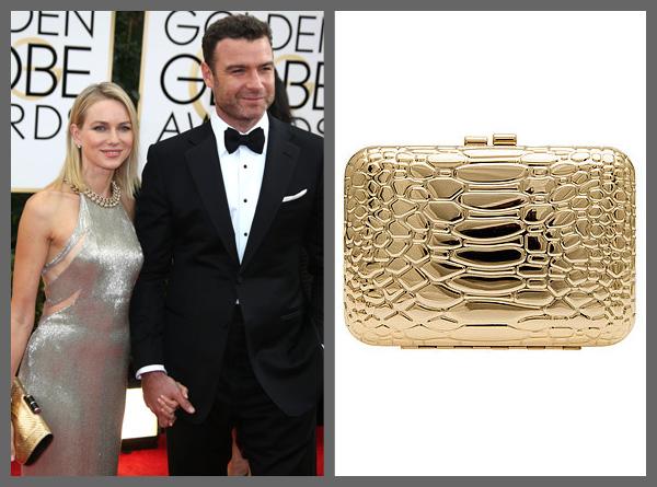 Naomi Watts carrying a shiny snakeskin bag