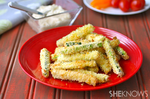 Baked Zucchini Sticks with Parmesan Dip
