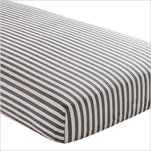 Grey striped crib sheet   Sheknows.com