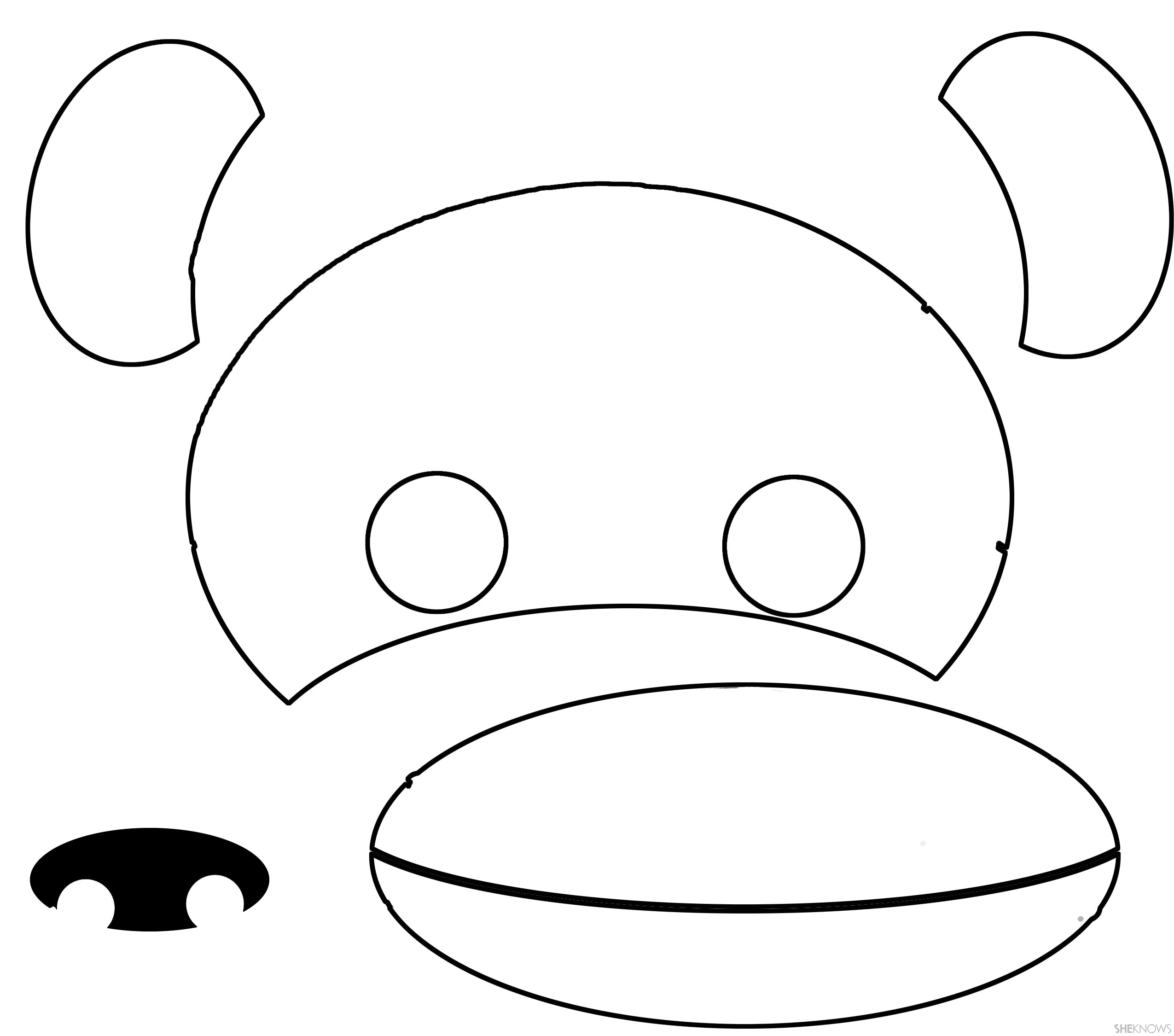 Monkey face printable for Mouth template for preschool