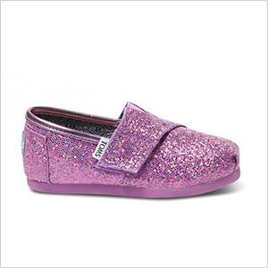 Lilac tiny TOMS glitters | PregnancyAndBaby.com