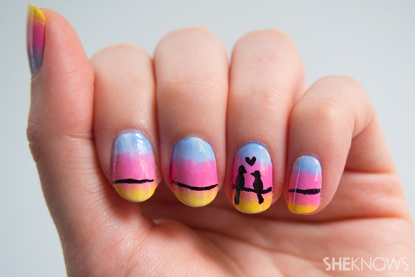 Love birds on a wire nail design