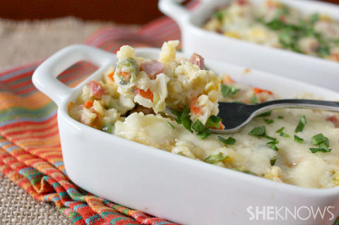 Vegetable, ham and cheese rice casserole
