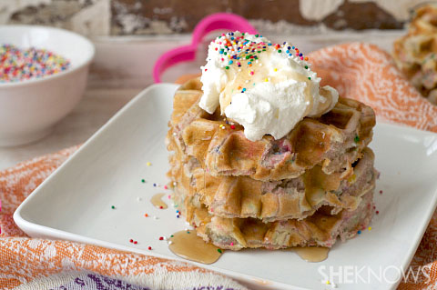 Heart Shaped Cake Batter Waffles